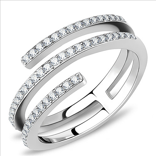 Stylish Pave Set CZ's Stainless Steel Engagement Ring Women Size 5-9