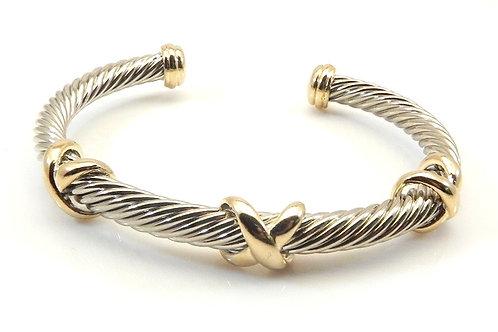 Classic Cable Designer Inspired 2-Tone Triple X- 5 MM  Bracelet Cuff