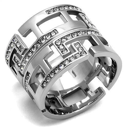 Stylish Geometric Wide Band French Set Swarovski Crystals Size 5-10