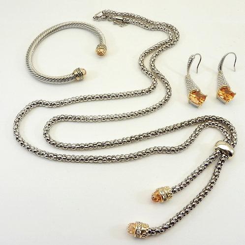 "Designer Inspired  2-Tone 36"" Caviar Tassel Necklace Topaz CZ Cuff & Earring"