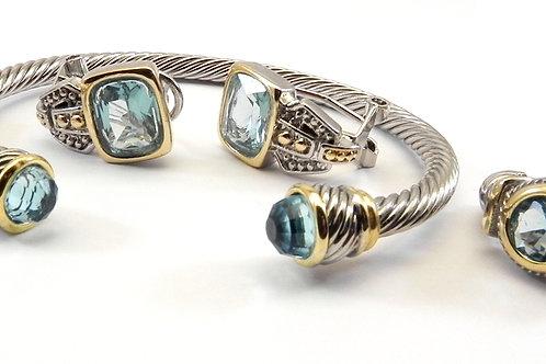 Cable Designer Inspired 2-Tone Sea Blue Bracelet, Earring & Ring 6-8Set