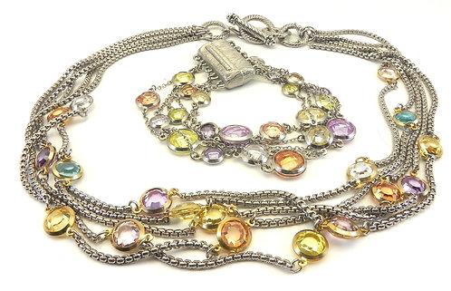 Designer Inspired Multi-Strand 2-Tone Multi-Color Crystals Necklace-Bracelet Set