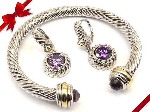 Cable Designer Inspired 2-Tone Amethyst CZ  Bracelet & Amethyst CZ  Earring
