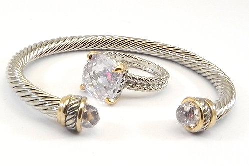 Cable Designer Inspired 2-Tone Clear CZ Bracelet & Ring Set 6-8