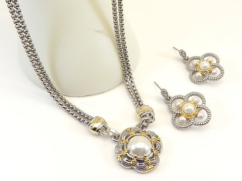 Designer Inspired 2-Tone Simulated Pearl Necklace & Dangle Earring set