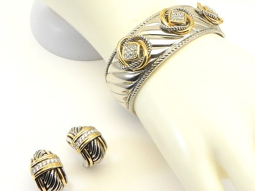 Cable Designer Inspired 2-Tone Pave Crystals Hinged Bracelet & Earring Set