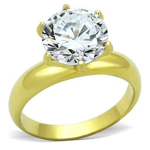 3.87ctw Round Cut Solitaire Gold IP Stainless Steel Engagement Ring Size 6-10