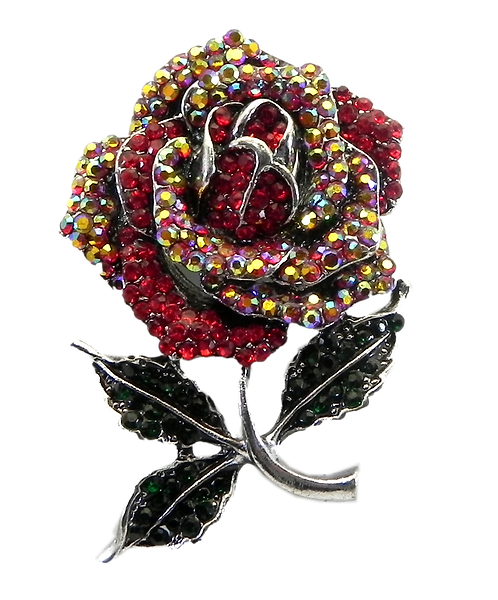 Shimmering Rose Silver Tone Pave Austrian Crystals Brooch