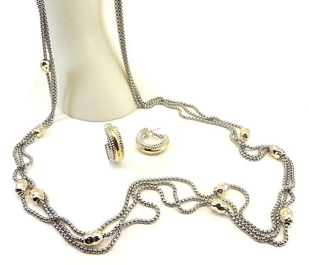 "Designer Inspired Triple Chain 36""Long 2-Tone Hammered Stations Necklace-Earring"