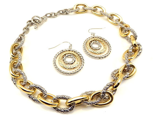 Designer Inspired 2-Tone Italian Link &  Dangle-Drop Earring Set
