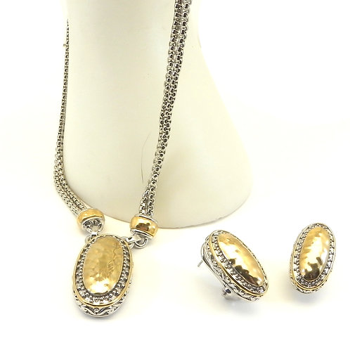 """Bali  Designer Inspired Double Chain Oval Hammered Center 16"""" Necklace-Earring"""