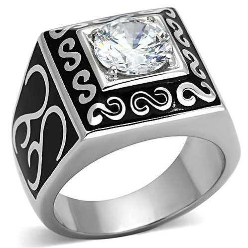 Stainless Steel Men's Ring simulated Diamond CZ Size 8-13