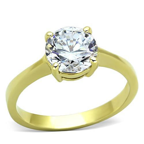 2.04ctw Round Cut Solitaire Gold IP Stainless Steel Engagement Ring Size 5-10