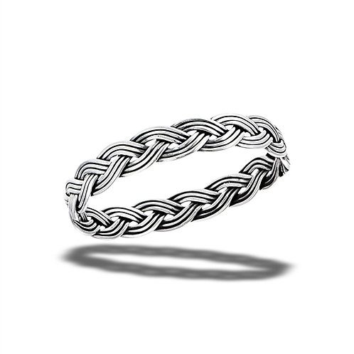 Sterling Silver Handmade Tiny-Petite Oxidized Weave Ring Size 7