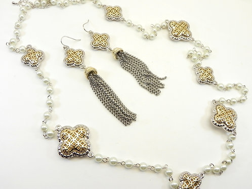 "Parisian Designer Inspired 2-Tone Filigree-Faux Pearls 36"" Necklace &Earring Set"