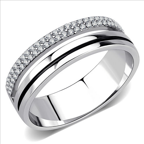 Stainless Steel Men's Ring & Pave Set AAA Cubic Zirconia Sz 8-12