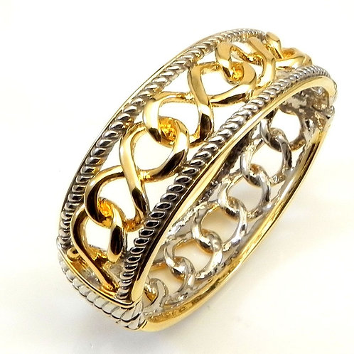 Bold fashion Statement Cable Designer Inspired 2-Tone High Polished Bracelet