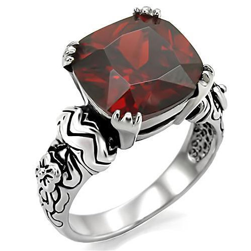 Bold 2-Tone Bali Inspired Square Red Garnet CZ Stainless Steel Size 5-10