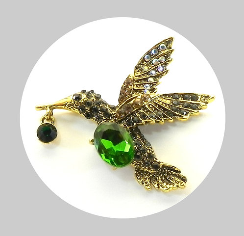 Whimsical Hummingbird Gold Tone Pave Austrian Crystals Brooch