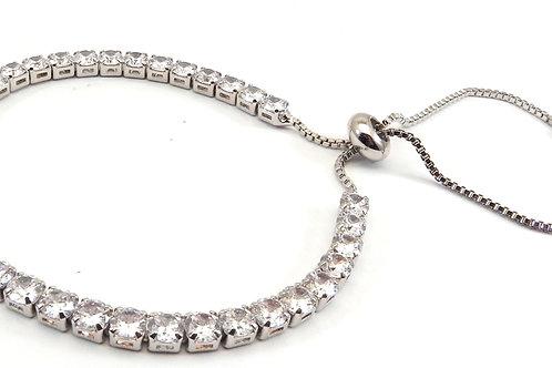 Designer Inspired Silver-Tone Lariat CZ Bracelet