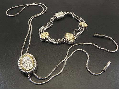 "Cable Designer 2-Tone 28"" Lariat Pave Crystal Necklace & Pave Station Bracelet"