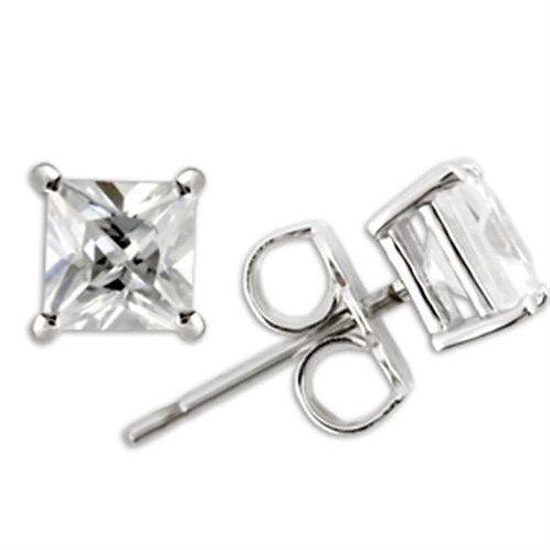 4x4 MM .39 Carat Per Side CZ Princess Cut Sterling Silver Stud Earring AAA Grade