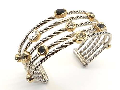 Cable Designer Inspired 2-Tone 5 2.4 MM Cable Black & Clear Crystals Cuff