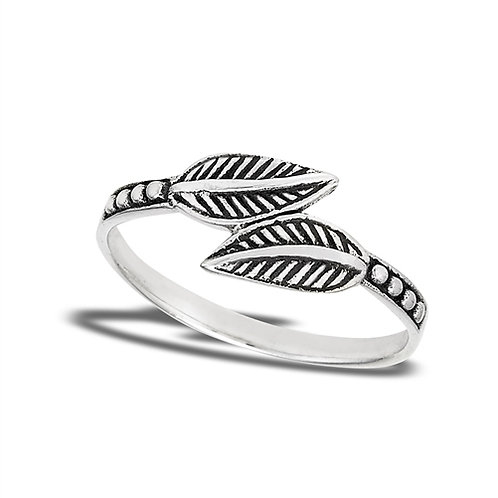 Sterling Silver Bypass Delicate Dueling Leaves With Dotted Shank Ring Size 7