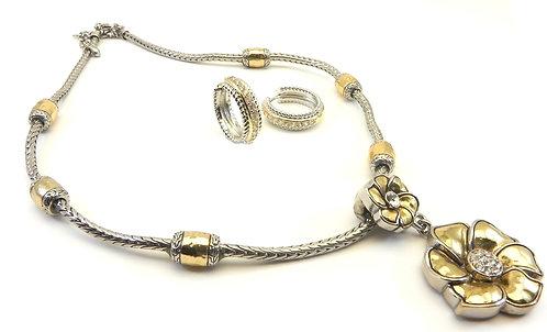 Designer Inspired  2-Tone Pave Center Flower Necklace & Huggie Earring Set