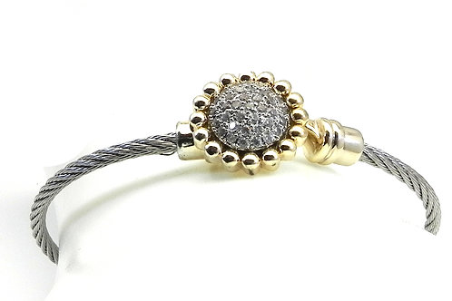 Cable Designer Inspired 2-Tone Round Micro Pave Set Stainless Steel Bracelet