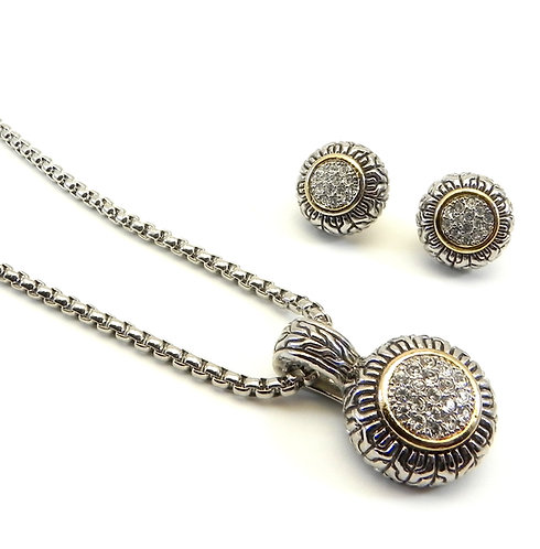 "Delicate Bali Designer Inspired Pave Crystal Pendant 18"" Chain 7 Earring Set"