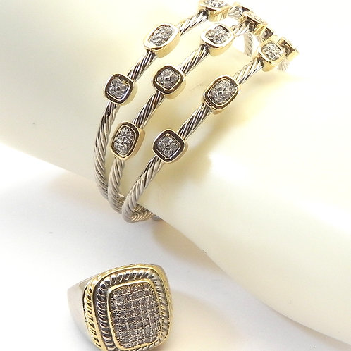 Cable Designer Inspired 2-Tone Pave Crystal Bracelet & Ring 6-8