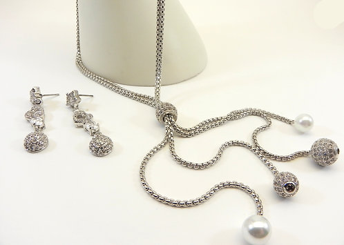 Designer Inspired Silver-Tone Pave Crystals-Faux Pearls & Dangle Earrings