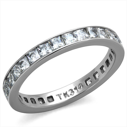Stacking Eternity Band Channel Set PRINCESS Cut CZ Stainless Steel Ring 5-12