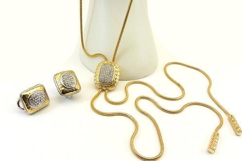 Bali Designer Inspired Austrian Crystal Pave LARIAT Necklace-Earring Set