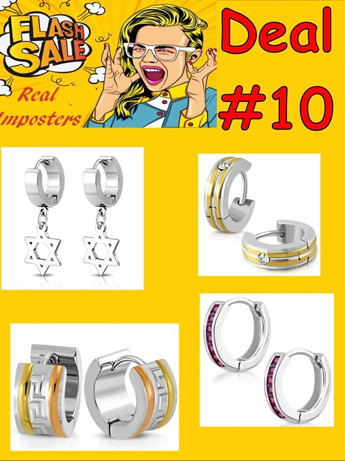 International Designer Inspired Stainless Steel Huggie Earrings