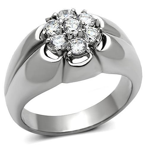 Stainless Steel  & Cubic Zirconia Fashion Men's Ring Size 8-13