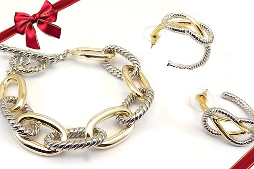 Cable Designer Inspired 2-Tone Link Toggle Bracelet & 2-Tone Hoop Earring