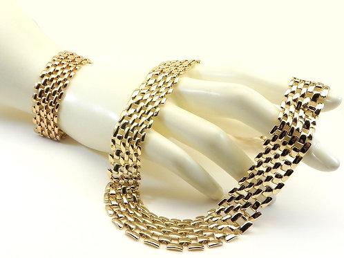 International Designer Inspired Gold Tone Brick Link Necklace/Bracelet Set
