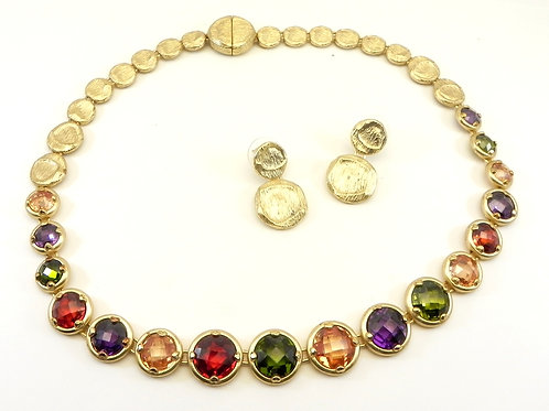 "French Designer Inspired  Gold-Tone Multi-Color CZ 18"" Necklace-Earring Set"
