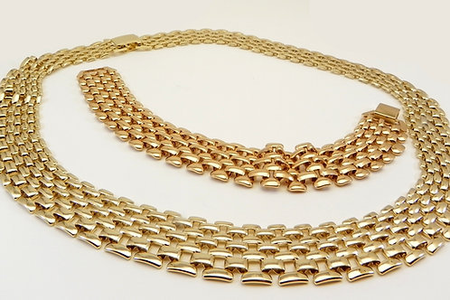 Designer Inspired Gold Tone Pantera Link Necklace & Bracelet