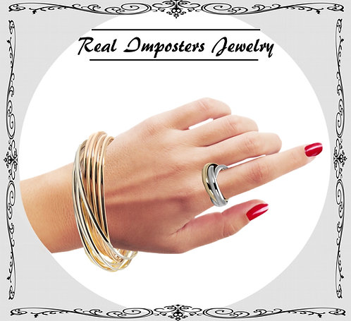 Show-Stopper Tri-Tone Rolling Bangle-2-Tone Rolling Stainless Steel Ring