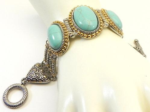 International Designer Inspired 2-Tone Simulated Turquoise Ovals Bracelet