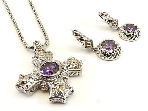 Designer Inspired 2-Tone Maltese Cross Amethyst CZ Necklace-Dangle ear