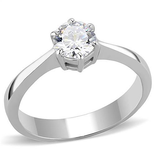 Solitaire 6 Prong Setting 5 mm .46 Ct Round CZ Stainless Steel Bridal Ring 5-9