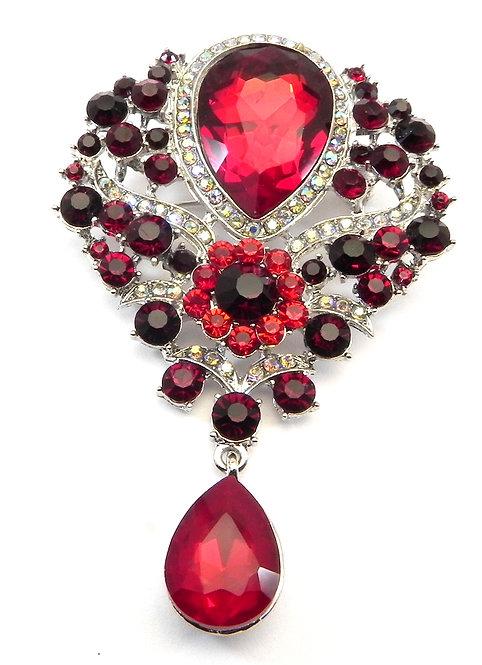 Elegant Ruby Austrian Crystal Brooch Pear Shape Dangle