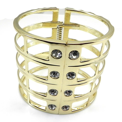 Designer Inspired Wide Gladiator Gold Tone & Austrian Crystals Bracelet