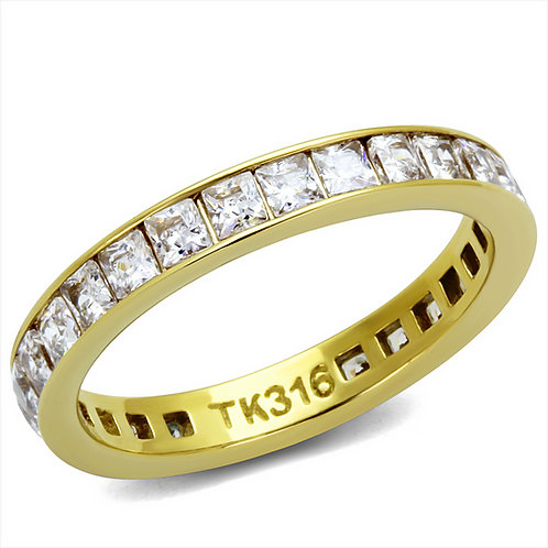 Eternity Band Channel Set PRINCESS Cut CZ Gold-Tone Stainless Steel Ring 5-12