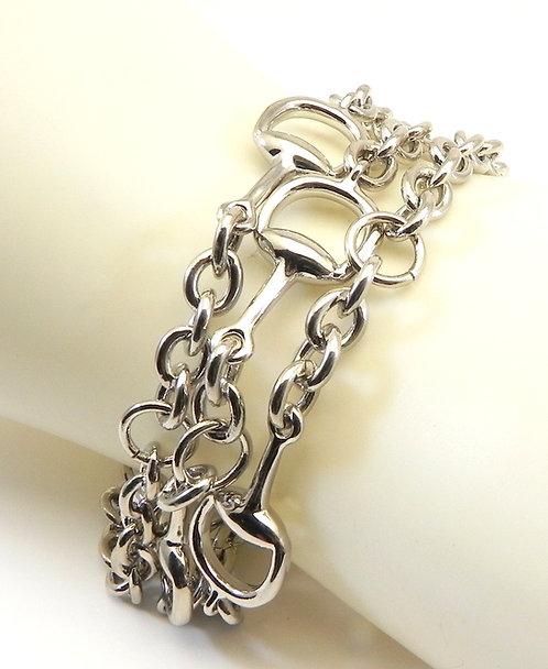 "Horse-Bit Silver-Tone Triple-Strand 7 1/2"" Magnetic Bracelet"
