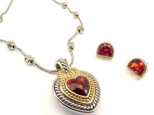 Designer Inspired 2-ToneRed Ruby CZ Heart Pendant-Chain-Earring Set